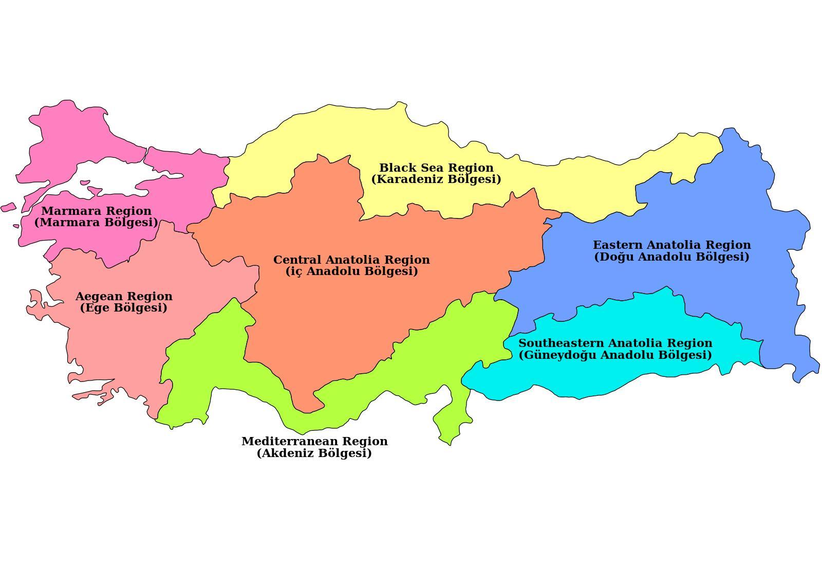 västra asien karta Turkiet regionen karta   Karta över Turkiet regionen (Västra Asien  västra asien karta